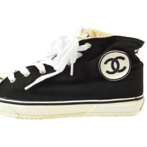 CHANEL CC Logos High Cut Sneakers String Shoes 38